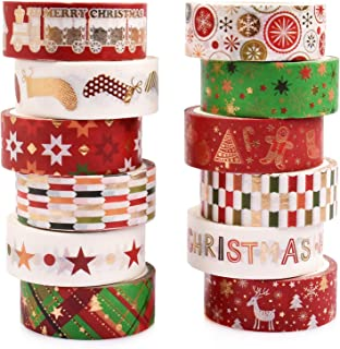 Gift Wrapping Bullet Journal Supplies Kingovalley 12 Rolls Christmas Washi Tape Set DIY Crafts Scrapbook 0.6 Wide,5.5 Yards Christmas Thick Gold Texture Tape for Xmas Winter Festival Card