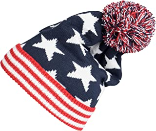 Winter 2ply Stars Striped Thick Knit USA Flag Beanie Skull Ski Hat Cap Navy Red