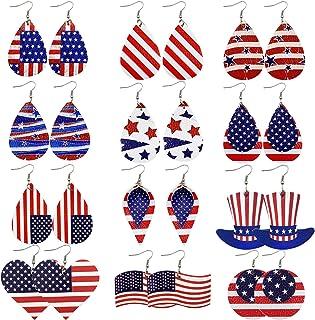 Alpurple 12 Pairs American Flag Faux Leather Earrings -Double Sided Teardrop Leaf Dangle USA Flag Earrings, 4th of July Pa...