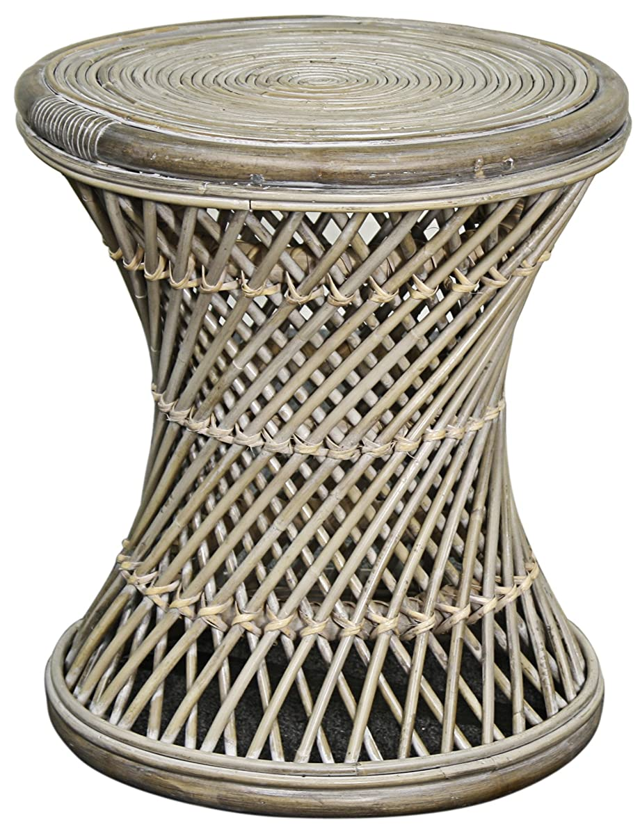 New Pacific Direct 668818-SG Keala Rattan Round Stool End Table, Gray