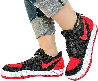 sale retailer 3c097 efb91 Crochet Air Jordan 1 Retro Basketball Flyknit Sneaker Custom Jumpman  Knitting Slippers BRED TOE