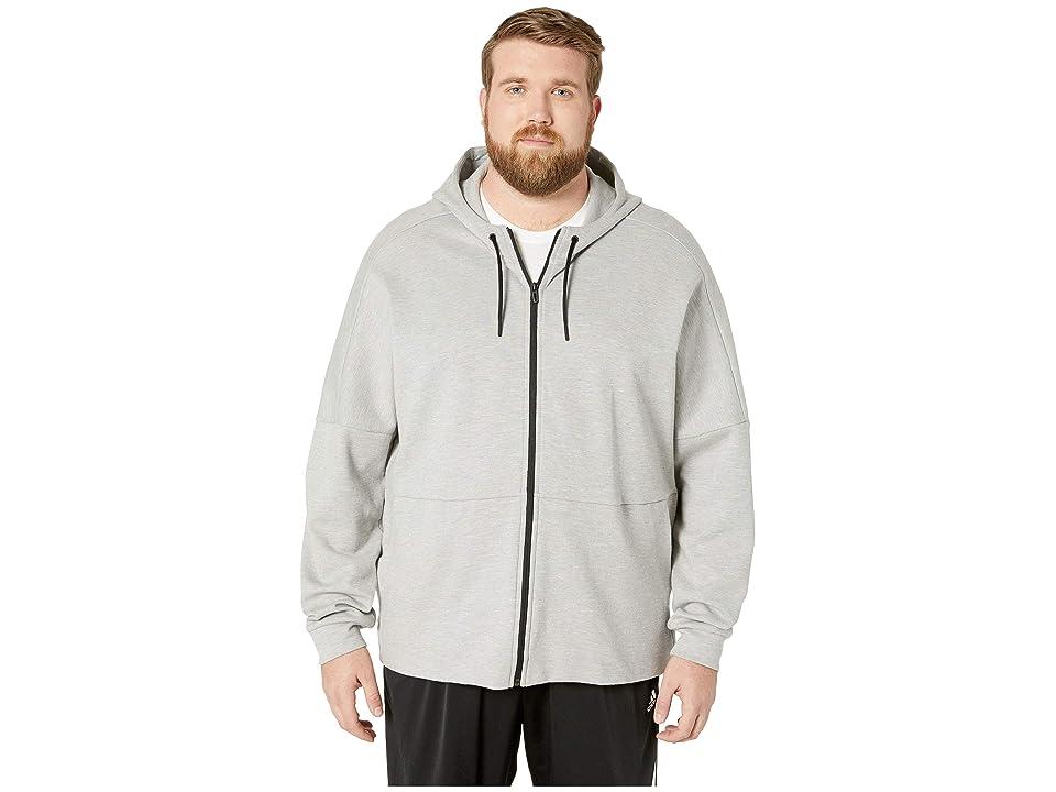 adidas Big Tall ID Stadium Full Zip Jacket (Medium Grey Heather Solid Grey/Raw White) Men