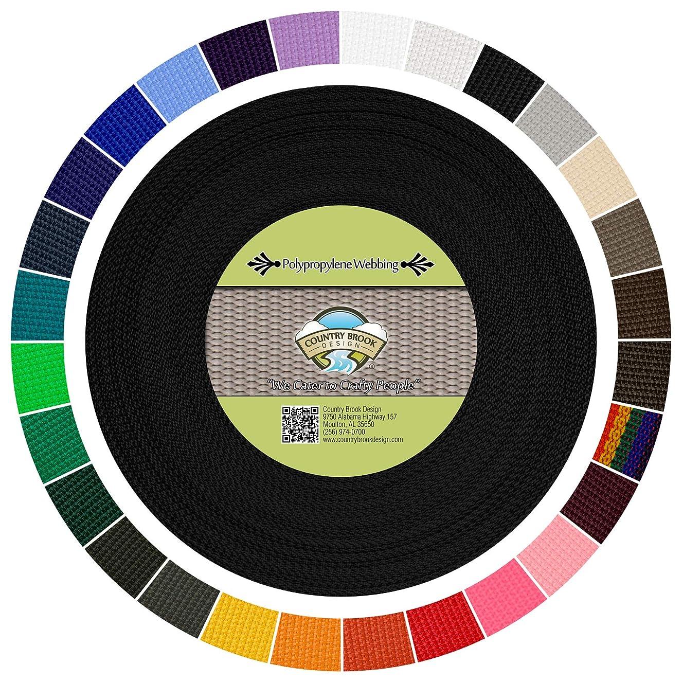 Country Brook Design | Polypropylene Webbing (1 Inch) (Black, 50 Yards)