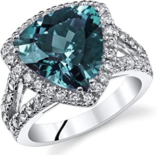 5.00 Carats Trillion Cut Simulated Alexandrite Cocktail Ring Sterling Silver Sizes 5 to 9