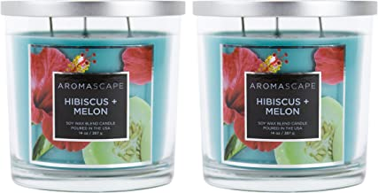 Aromascape 3-Wick Scented Jar Candle, Hibiscus and Melon, 2-Count