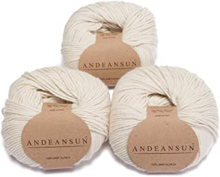 100% Baby Alpaca Yarn (Weight #3) DK - Set of 3 - AndeanSun - Luxuriously Soft for Knitting, Crocheting - Great for Baby Garments, Scarves, Hats, and Craft Projects - (Ivory)