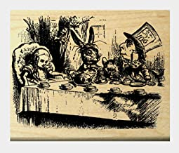 Alice in wonderland Tea Party rubber stamp WM P8