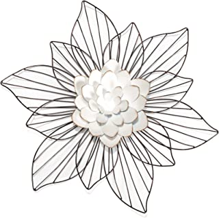 Fetco Leith Layered Floral Metal Wall Art, White & Off-White