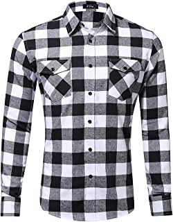 XI PENG Men's Dress Long Sleeve Plaid Checkered Flannel Shirt