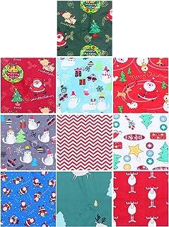 Toyvian 10 Peças de Tecido de Algodão de Natal Pré-Cortado Quadrados Acolchoado Patchwork Costura Artesanal Quarto de Gord...