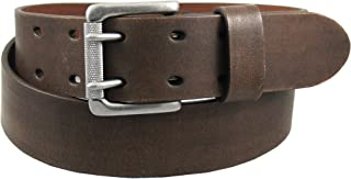 Levi's Men's Work Belt - Heavy Duty Thick Wide Soft Leather Strap with Silver Double Prong Buckle