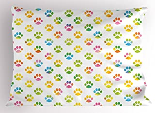 Ambesonne Dog Lover Pillow Sham, Animal Footprint Colorful Abstract Puppy Paws Grunge Elements Paintbrush Effect, Decorative Standard Size Printed Pillowcase, 26