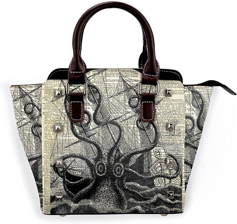 Giant Octopus Attack Ship Leather New York Mall cheap Bag Pur Handbag Shoulder Rivet