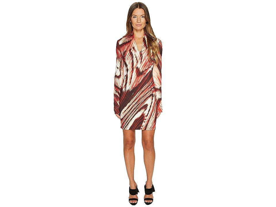 Just Cavalli Distorted Dragon Fly Print Long Sleeve Jersey Dress (Malva Red) Women
