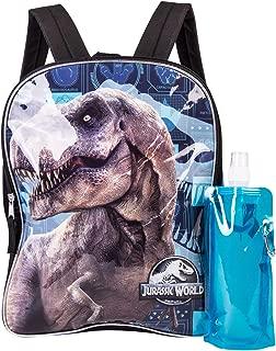 Jurassic World Backpack Combo Set - Jurassic Park Boys' 3 Piece Backpack Set - Jurassic World Backpack, Waterbottle and Carabina (Black/Navy)