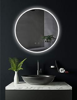 HOKO® Miroir de salle de bain rond avec éclairage LED blanc chaud et froid 60 cm