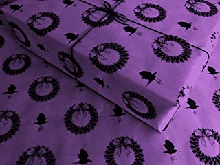 Ravens & Wreaths on Purple Gothic Wrapping Paper - up to 8 Feet of Birthday Gift Wrap