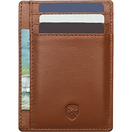 ALLEN & MATE Leather Card Holder Slim Wallet for Men, RFID Blocking Minimalist Wallet Credit Card Holder, Holds up to 10 Cards and Bank Notes, with Gift Box