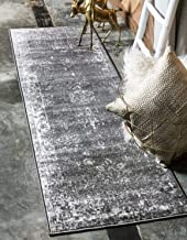 Unique Loom Sofia Collection Area Rug, 2' x 10' Runner, Dark Gray