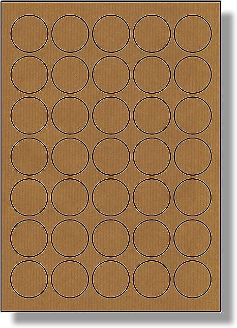 350 Etiketten Label Planet/® Runden Brown gerippte Kraftpapier Etiketten F/ür Tintenstrahl- und Laserdrucker 37mm Durchmesser 10 Bl/ätter 35 Pro Blatt LP35//37 R BRK.