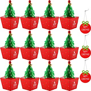 Gejoy 20 Pack 3D Christmas Tree Shape Gift Boxes Party Favor Goody Bags Paper Goody Boxes with Bell and Merry Christmas Tags
