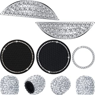 Car Interior Crystal Accessories Including Bling Steering Wheel Stickers Diamond Car Coasters Bling Engine Start Button Ring Rhinestone Wheel Valve Caps for Car Decoration (Compatible with Nissan)