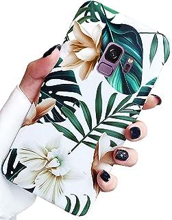 Jwest - Carcasa para Samsung Galaxy S9, diseño de hojas de palma, color verde tropical, estampado floral, funda de silicon...