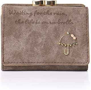 RFID Women's Nubuck Leather Wallet Card Holder Cute Small Coin Purse for Lady Kiss Lock Closure/Gift for Girls