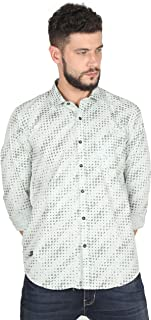 Twills Slimfit Printed Casual Cotton Shirt for Men Off White (Size - _S)