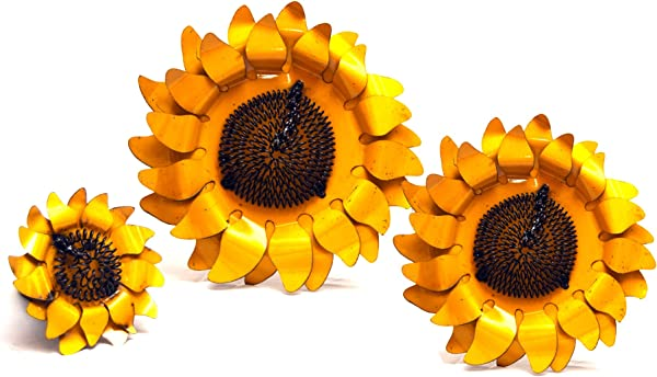 Rustic Arrow Wall Sunflower For Decor 3pc Set 1 By 14 5 By 14 Inch Yellow