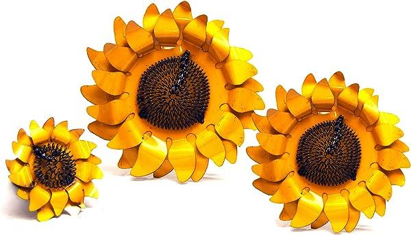 乡村箭头墙向日葵装饰 3 件套装 1 乘 14 5 乘 14 英寸黄色