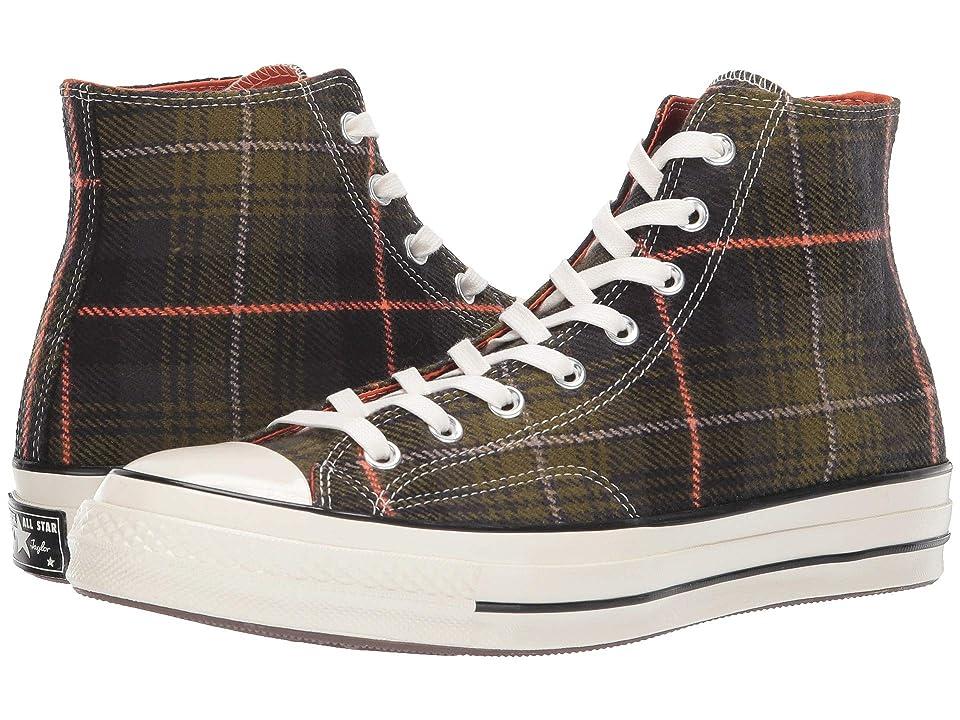 Converse Chuck 70 Plaid Hi (Medium Olive/Campfire Orange/Egret) Lace up casual Shoes