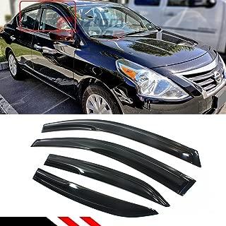 Cuztom Tuning JDM 3D Style Smoked Window Visor Vent Shade for 2012-2018 Nissan Versa 4 Door Sedan