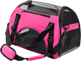 Display4top Pets Travel Carrier Comfort Expandable Foldable Travel Bag for Dogs and Cats,Carry Your Pet with You Safely and Comfortably(Rosy)