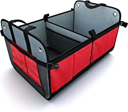 Tidy Globe Premium Heavy Duty Auto Trunk Organizer. Best Cargo Storage for SUV, Cars, Trucks and Minivans, with 3 Compartments and Side Pockets. Durable Divider, Collapsible and Foldable with.