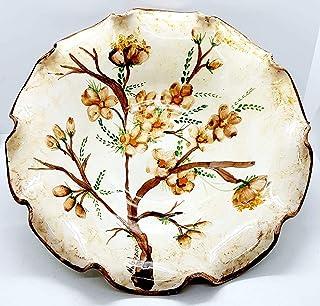 Centrotavola Linea Fiori Pesco Decorato a mano Le Ceramiche del Castello Nina Palomba Made in Italy Dimensioni H 9,5 x L 2...
