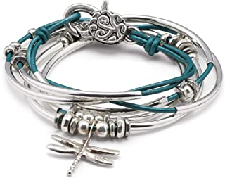 Dragonfly Charm Metallic Teal Leather Wrap Bracelet Necklace