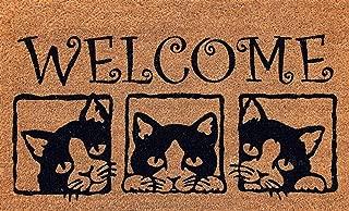 Cranberry Mats Designer Natural Coir Non Slip Doormat for Patio, Front Door, All Weather Exterior Doors 18 X 30 Inch 3 Box Animals Cats