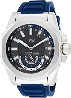 JBW Luxury Men's Delmare Diamond & Slip-Resistant Silicone Bracelet Watch 5ATM