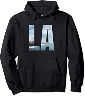 Los Angeles CA Hoodie LA Santa Monica Pier Blue Ocean Waves