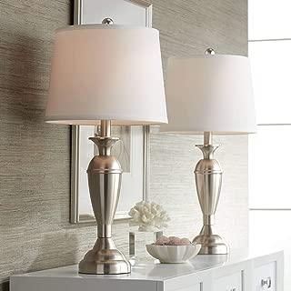 Blair Modern Table Lamps Set of 2 Brushed Steel Metal White Drum Shade for Living Room Family Bedroom Bedside Nightstand - Regency Hill