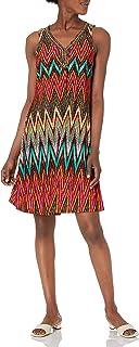 فستان ماركة Sandra Darren للنساء بدون أكمام مطبوع عليه Chevron Ity قلادة أرجوحة