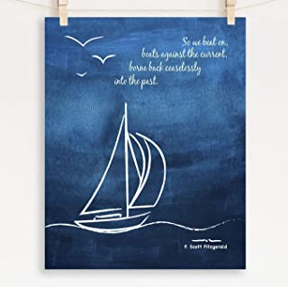 F. Scott Fitzgerald Quote, Great Gatsby Poster, Sizes 5x7-13x19, So We Beat On Fine Art Print, Unframed