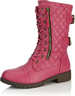 Women's Military Lace Up Buckle Combat Boots Mid Knee High Exclusive Quilted Credit Card Pocket