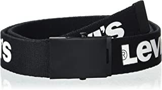 Levi's Men's Military Web Belt - Casual for Jeans Adjustable One Size Cotton Strap and Metal Plaque Buckle