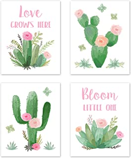 Sweet Jojo Designs Pink and Green Boho Wall Art Prints Room Decor for Baby, Nursery, and Kids for Watercolor Cactus Floral...