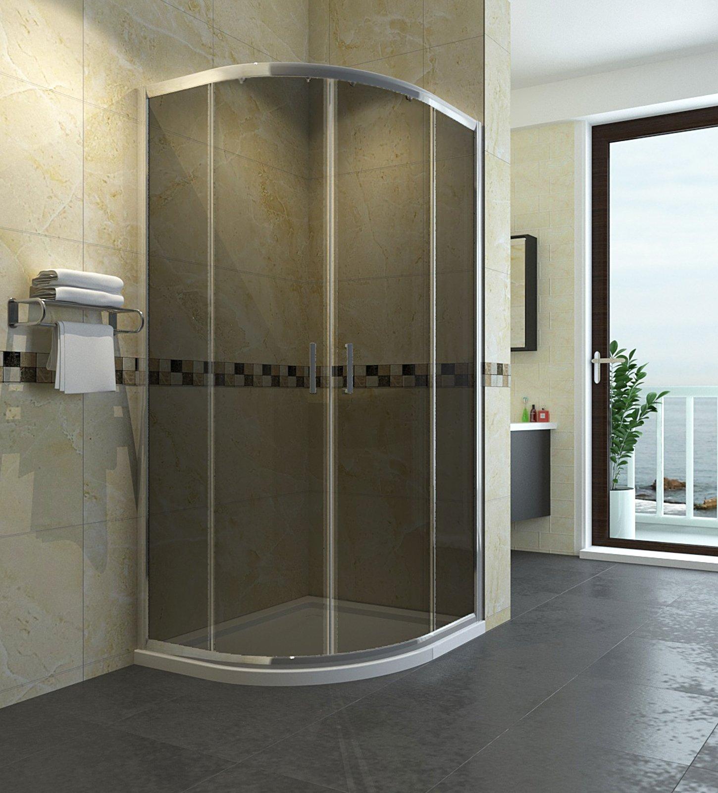 Cabina de ducha Cuarto circular (80 x 80 cm, mampara de ducha puerta sin plato de ducha redonda ducha puerta corredera ducha ducha pared Altura 185 cm Gris: Amazon.es: Bricolaje y herramientas
