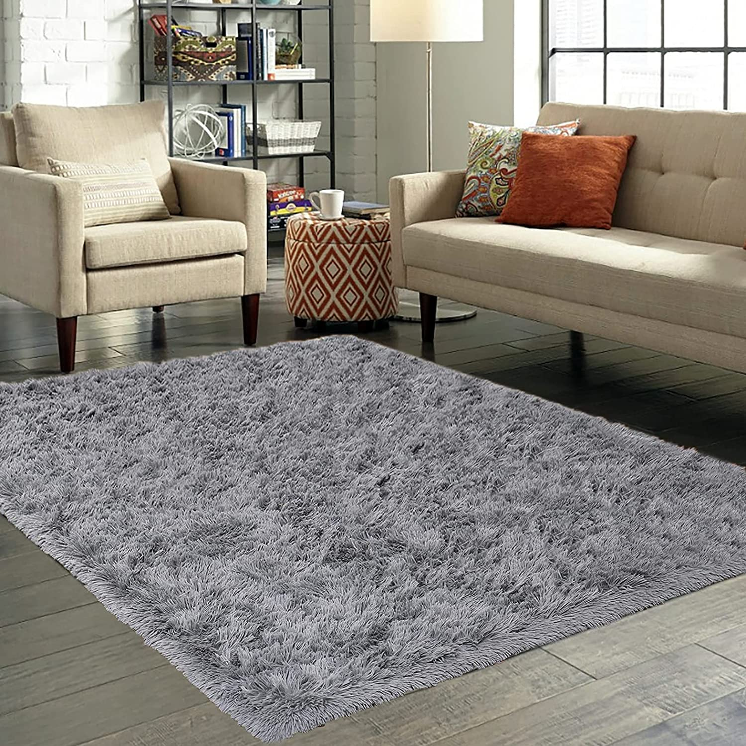 Moreuanew Modern Fluffy Area Rugs for Grey Sha Bedroom Max All items free shipping 85% OFF Plush 5x8
