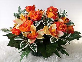 roselynexpress Composition De Fleurs Artificielles, Lesté Ciment pour Une Très Bonne Tenue à l Extérieur. Réalisé par Nos ...