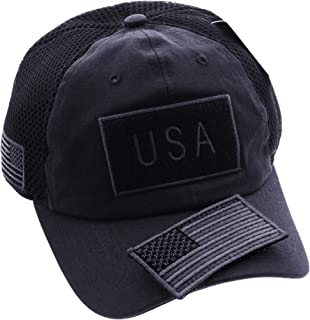 JFH American USA Flag Mesh Tactical Cap Military Embroidered Hat w/Side Reverse Flag